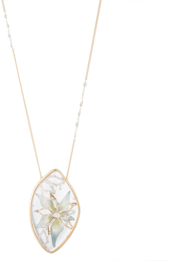 Alexis Bittar Crystal Accented Encased Flower Pendant Necklace