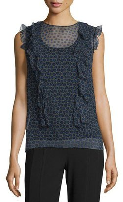 DKNY Minny Cap-Sleeve Printed Silk Chiffon Blouse, Black $298 thestylecure.com