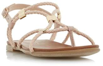 Head Over Heels by Dune - Light Pink 'Layley' Braided Gladiator Flat Sandals