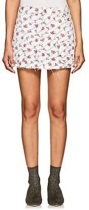 RE/DONE Women's Floral Stretch-Denim Miniskirt - White