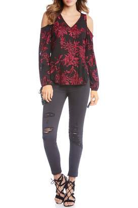Fifteen-Twenty Embroidered Cold Shoulder Top