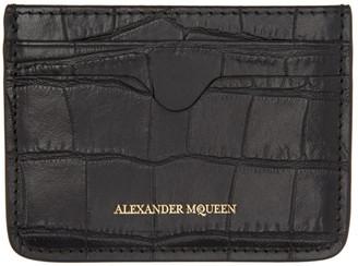 Alexander McQueen Black Croc-Embossed Card Holder $165 thestylecure.com