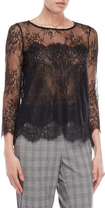 The Kooples Black Sheer Lace Top