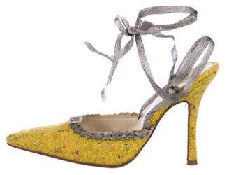 Christian Dior Tweed Pointed-Toe Mules