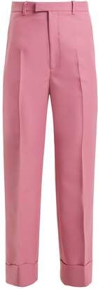 Gucci High-rise straight-leg twill cropped trousers