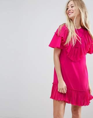 Asos DESIGN Pleated Ruffle Shift Mini Dress