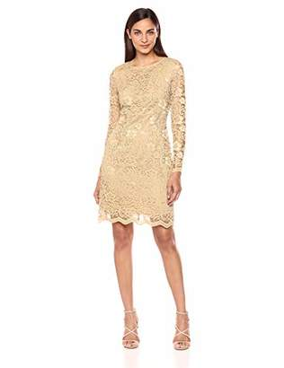 Nanette Lepore Nanette Women's Ls Off The Shoulder Lace Shift Dress W/Tiered Bell SLV