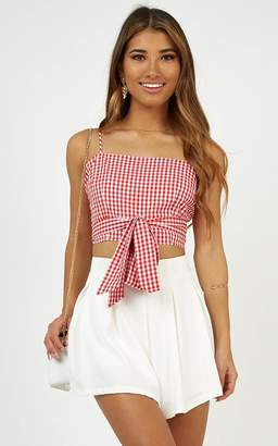 Showpo Best Behavior Top in Red gingham - 14 (XL) Festival Outfits