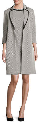 Albert Nipon Sleeveless Patterned Sheath Dress w/ Jacket, Ivory/Black $395 thestylecure.com