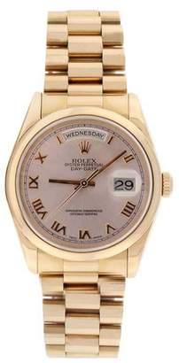 Rolex President 118205 18K Rose Gold Pink Roman Dial 18K Smooth Bezel Mens Watch