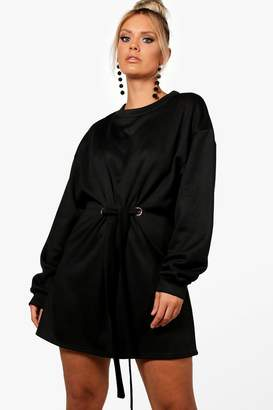 boohoo Plus Front Tie Sweat Dress