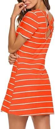 Tymhgt-CA Women's Short Sleeve Criss Cross Striped T Shirt Mini Dress with Pockets 12 S