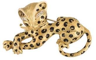 18K Diamond Leopard Brooch