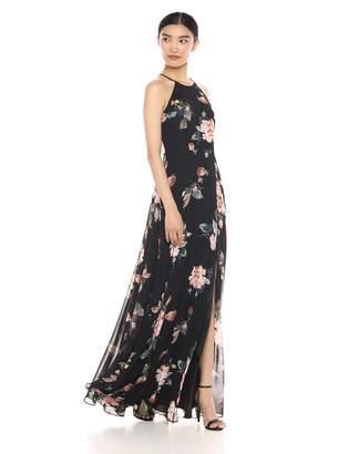 Jenny Yoo Women's Kayla A-Line Halter Floral Printed Chiffon Long Dress