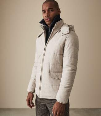 Reiss SWEENEY QUILTED JACKET WITH HOOD Brown