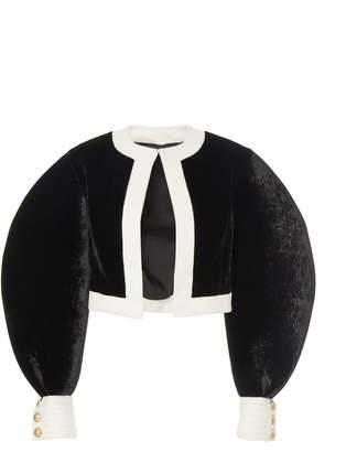 Balmain Rounded Sleeve Crewneck Velvet Jacket