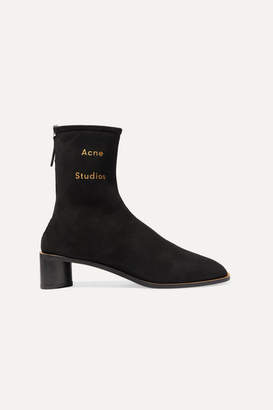 Acne Studios Bertine Shearling-lined Suede Ankle Boots - Black