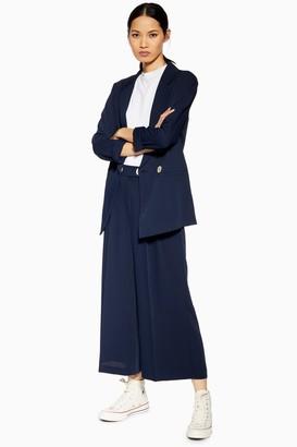 Topshop Navy Crop Wide Leg Trousers