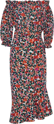 Saloni Grace Off The Shoulder Printed Dress $625 thestylecure.com