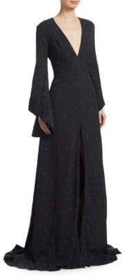 Brandon Maxwell Jacquard Flare-Sleeve Gown