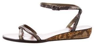 Lanvin Embossed Wedge Sandals
