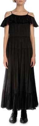 Saint Laurent Off-The-Shoulder A-Line Dress