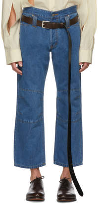 Chin Mens Blue Cropped Jeans