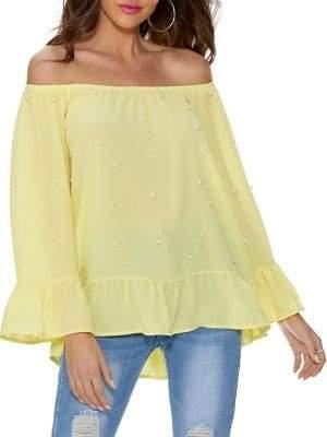 Quiz Crepe Pearl-Embellished Off-the-Shoulder Frill Top