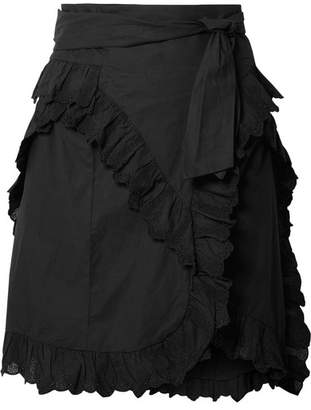 Etoile Isabel Marant Milou Ruffled Broderie Anglaise Cotton Mini Skirt - Black