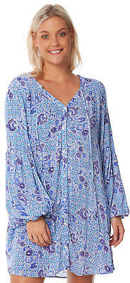 Rusty New Women's Paloma Beach Tunic V-Neck Rayon Blue