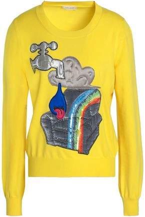 Appliquéd Sequined Wool-Blend Sweater