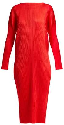 Pleats Please Issey Miyake Mock Neck Pleated Dress - Womens - Red