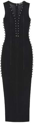 David Koma Lace-up knit dress