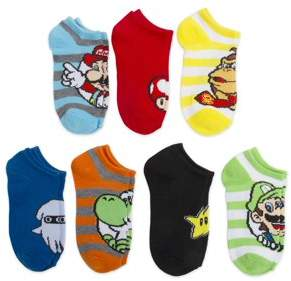 Super Mario Bros No Show Socks, 5 + 2 Bonus Pack (Little Boys & Big Boys)