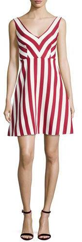 RED ValentinoRED Valentino Sleeveless Striped Cotton-Blend Dress, Red