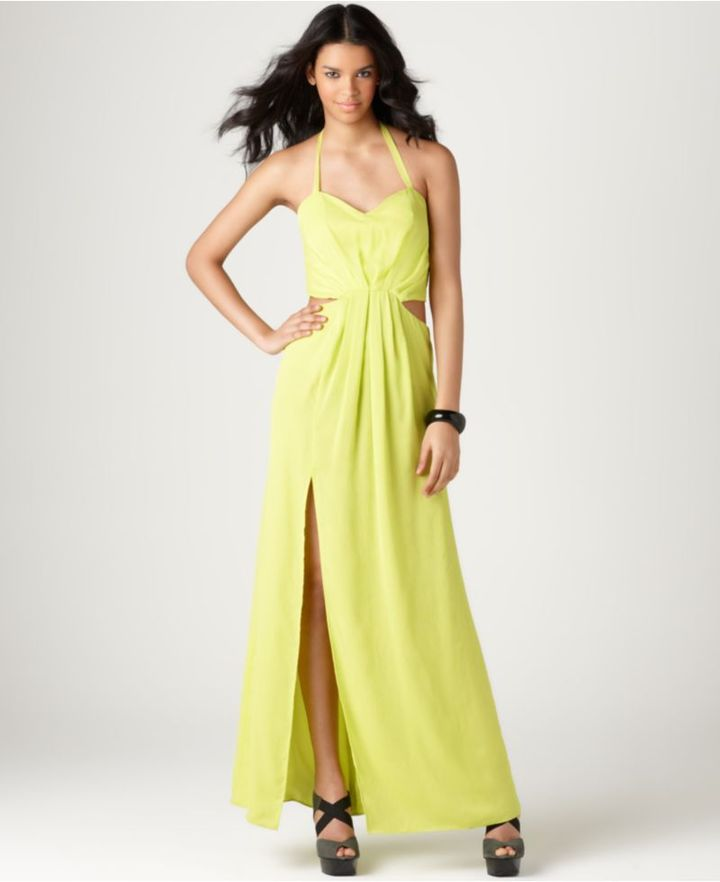 BCBGeneration Dress, Sleeveless Sweetheart Pleated Cutout Long A Line