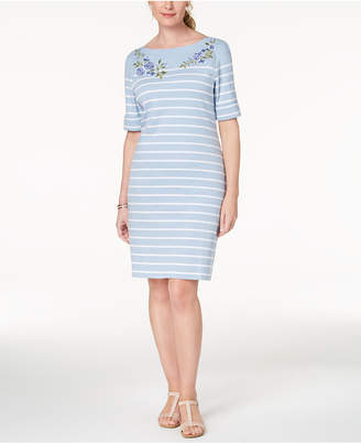 Karen Scott Petite Striped Embroidered Dress, Created for Macy's
