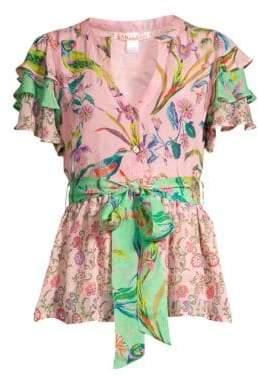 Banjanan Jaya Contrast Floral & Avian Print Tie Short-Sleeve Silk Blouse