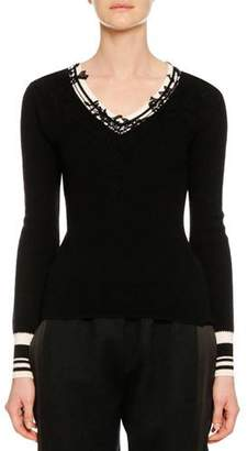 Ermanno Scervino V-Neck Long-Sleeve Wool Sweater w/ Lace Applique