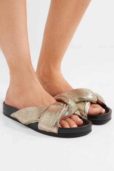 Chloé - Metallic Cracked-leather Slides - Gold 5