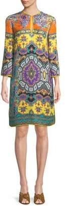 Etro Split-Neck Long-Sleeve Paisley Cloque Harlem-Print Tunic Dress