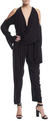 Neiman Marcus Urban Zen Draped-Front Cold-Shoulder Jumpsuit