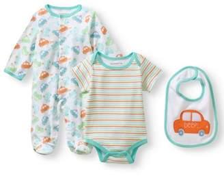 Nannette Newborn Baby Boy Knit Coverall, Knit Creeper And Knit Bib Set