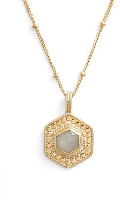 Anna Beck Grey Moonstone Hexagon Pendant Necklace