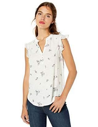 Lucky Brand Women's Flutter Sleeve Henley TOP,XL