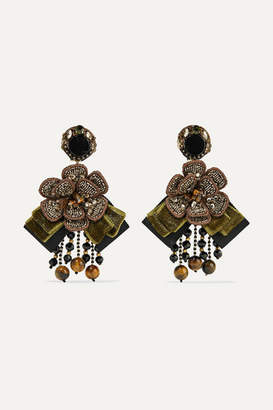 Ranjana Khan Cascade Gold-tone, Velvet And Crystal Clip Earrings - Green