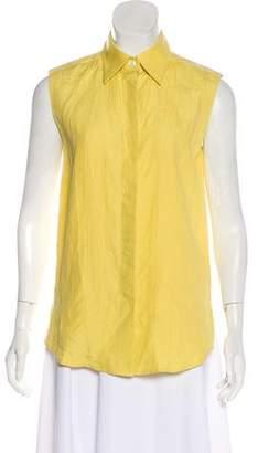 Hermes Linen Sleeveless Button-Up Top