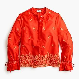 J.Crew Embroidered floral popover shirt