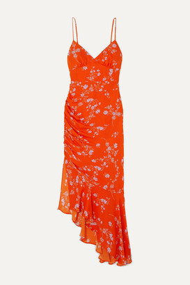Nicholas Asymmetric Ruched Floral-print Silk Crepe De Chine Dress - Orange