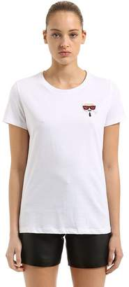 Karl Lagerfeld Emoji Patch Cotton Jersey T-Shirt